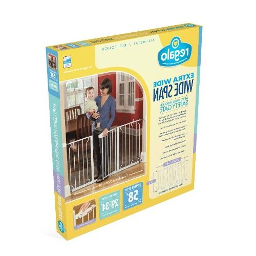 Regalo 58-Inch Extra WideSpan Walk Baby Gate, 8-Inch and 12-Inch 4 Mounts of