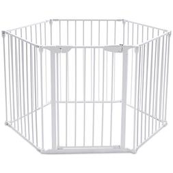 Costzon Baby Safety Gate, 4-in-1 Fireplace Fence, Wide Barri