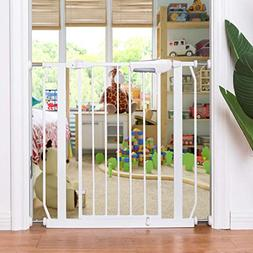 Costzon Baby Safety Gate, Easy Close Walk Through Gate, Whit