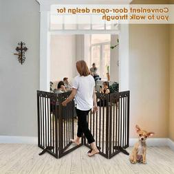 Solid Dog Pet Fence Wood Playpen Gate Barrier Free Standing