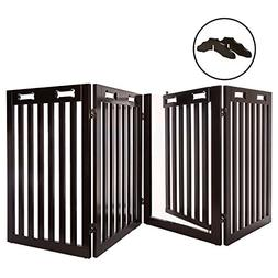 Arf Pets Free Standing Wood Dog Gate with Walk Through Door,