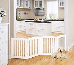 PAWLAND Wooden Freestanding Foldable Pet Gate for Dogs, 24 i